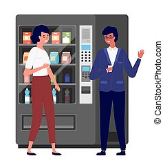 Business people communicating during the coffee break. Vending or food machine on background