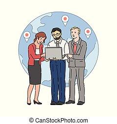 Business people communicating on globe background, sketch vector illustration.