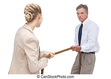 Business people compete a tug of war