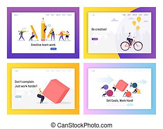 Business People Competition Concept Landing Page Set. Businessman Riding Bike to Work. Character Move Heavy Shape. Leadership Goal for Career Website or Web Page. Flat Cartoon Vector Illustration