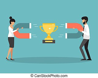 Business people competition, persons attracting golden cup by magnets