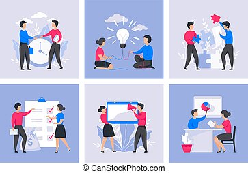 Business people concept. Cartoon office characters, digital marketing and communication. Vector project management trendy flat