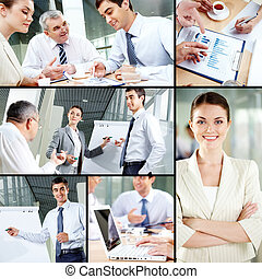 Business people concept - Collage of images with business...