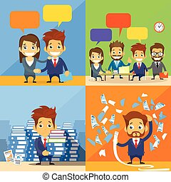 Business People Concept Working Set Group Communication...