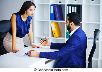 Business people conflict working problem, angry boss argue scream to colleague businessmen and women serious argument negative emotion discussing report meeting