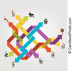 business people connected by arrows