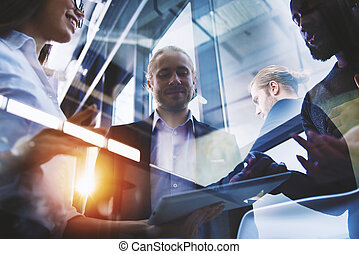 Business people connected on internet network with a tablet....