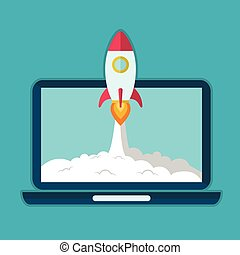 Business people control rocket launching on laptop. Startup...