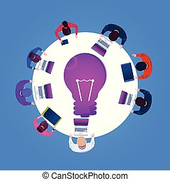 Business People Creative Team Working On New Ideas Top Angle View