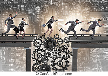 Business people crossing the bridge with cogwheels