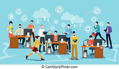 Business People Crowd Workplace Office