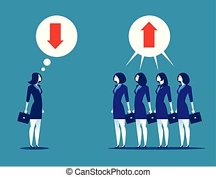 Business people disagreeing with upward and downward arrow in thought buble. Concept business vector.