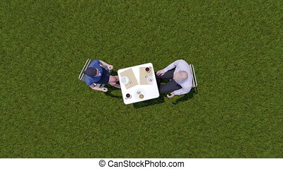 Business people discuss at lunch on lawn top view