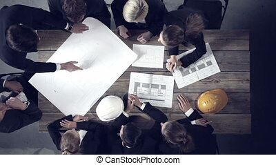 Business people discussing construction projects - Engineers...