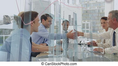 Business people discussing in an office and graphs 4k