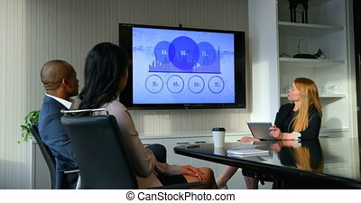 Business people discussing over graph in conference room at office 4k