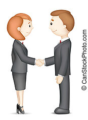 Business People doing Handshake - illustration of confident...