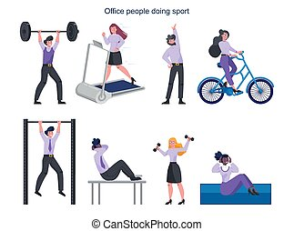 Business people doing sport set. Collection of different sport activity.