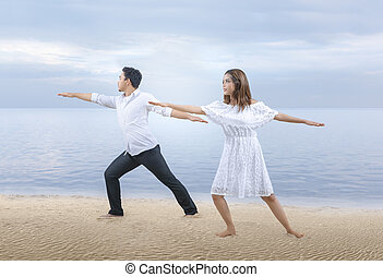 Business people doing yoga relaxation