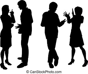 Business people - Silhouettes of business people talking