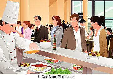 Business People Eating in a Cafeteria