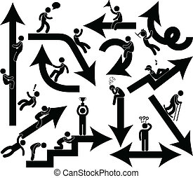 A set of business direction and metaphors represented by arrows and human figure.
