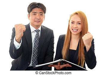 Business people enjoying success