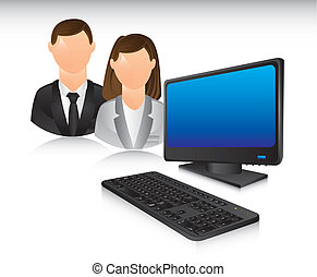 business people with computer. vector illustration