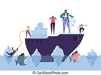 business team with leader sailing on paper boat in ocean of