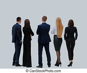 business people from the back - looking at something over a white background.