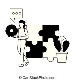 business people gear puzzles