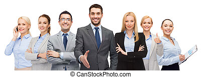 group of smiling businessmen showing thumbs up - business,...