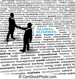 Business people global economic issues text page