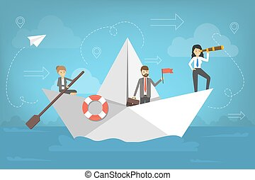 Business people go to the success on paper boat