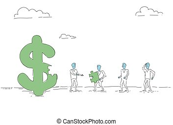 Business People Group Build Dollar Sign Team Investment Together Concept