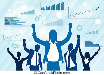 Business People Group Celebration Silhouette Excited Hold Hands Up Raised Arms, Businesswoman Concept