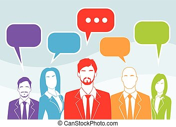 Business People Group Chat Colorful Communication