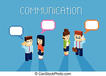 Business People Group Chat Communication Bubble Concept, Business People Talking Discussing 3d Isometric