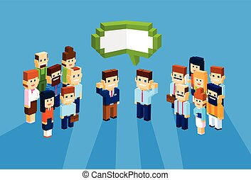 Business People Group Chat Communication Bubble Concept, Businesspeople Talking Discussing 3d Isometric
