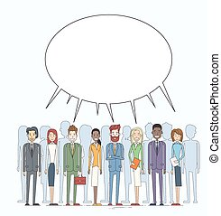 Business People Group Chat Communication Bubble Concept, Businesspeople Talking Discussing Social Network