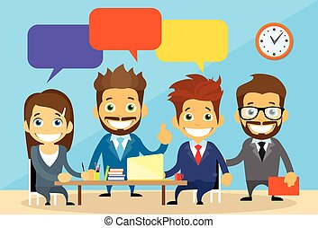 Business People Group Chat Communication Office Desk Concept