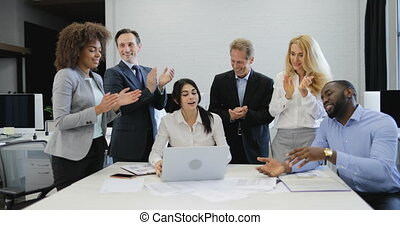 Business People Group Clapping Hands Congradulate Businesswoman Presenting New Project On Laptop Computer, Team Happy Of Colleague Success