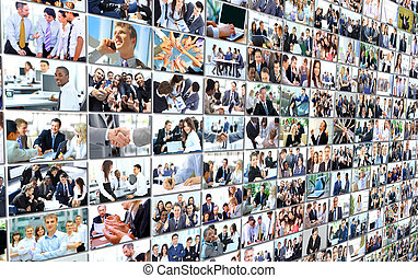 Business people group collage