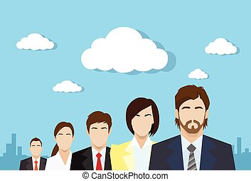 business people group color profile human resources team ...