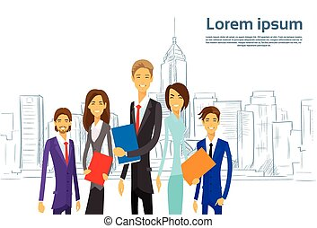 Business People Group Executives Team Cartoon