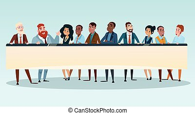 Business People Group Executives Team with Banner Board Copy Space