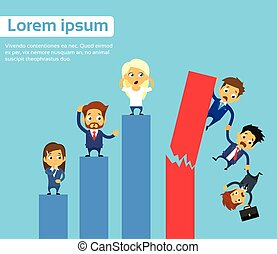 Business People Group Fall Down Financial Bar Chart Crisis Concept