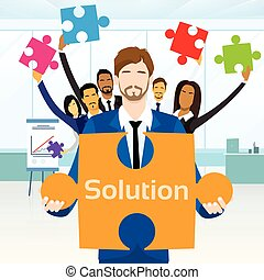 Business People Group Hold Jigsaw Puzzle Piece Concept