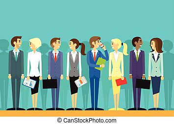business people group human resources flat vector ...