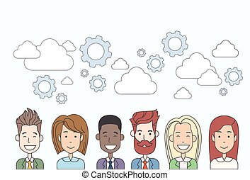 Business People Group Human Resources Teamwork Diverse Cloud...